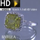 4.44 Carat Fancy Yellow Radiant & Round Diamonds Engagement Ring 14k White Gold