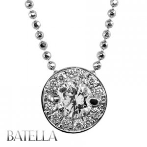 0.85 Ct D/SI2 Natural Round Diamonds Pendant 18k White Gold Halo Set + Necklace