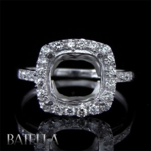 Semi Mount 0.38 Carats E-F/VVS1-VVS2 Diamond Engagement Ring 18k White Gold