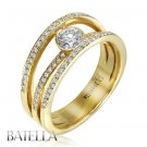 .74 Carat H/VS2 Natural Round Cut Diamond Engagement Ring 14k Yellow Gold Womens
