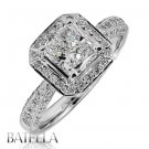 GIA Certified 1.39 Ct H/VS2 Radiant Diamond Engagement Halo Ring 18k White Gold