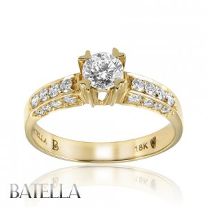 Certified 0.93 Carat F/SI2 Round Diamond Engagement Ring 18k Yellow Gold Ladies
