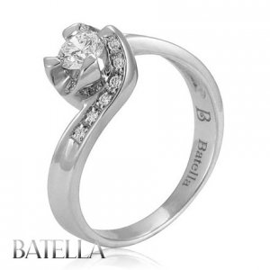 0.43 Ct G/VVS2 EX Natural Round Brilliant Diamond Engagement Ring 18k White Gold