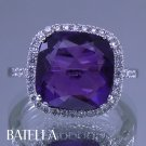 7.68 Ct Cushion Amethyst Gemstone & Natural Round Diamonds Ring 18k White Gold