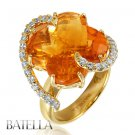 Romantic 13.66 Ct Flower Citrine & Natural Round Diamonds Ring 18k Yellow Gold