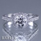 GIA Certified 1.73 Ct K VS2 Round Diamonds Engagement Ring 14k White Gold Halo