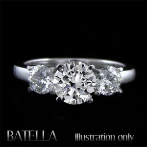 EGL Certified 1.83 Ct F/SI2 Round 3-Stone Diamond Engagement Ring 18k White Gold