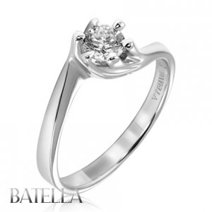 0.31 Carat H/VS2 Genuine Round Diamond Solitaire Engagement Ring 18k White Gold