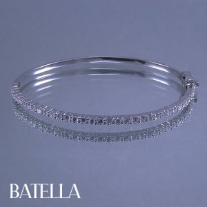 1.30 Ct E-F/VVS1-VVS2 EX Cut Round Diamonds Bangle Bracelet 14 White Gold Ladies