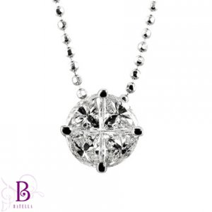 0.62 Carat F/VVS2 Invisible Pizza Cut Diamonds Pendant 18k White Gold + Chain