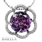 8.34 Carat Round Amethyst Gemstone & G-H/VS1-VS2 Diamonds Pendant 18k White Gold