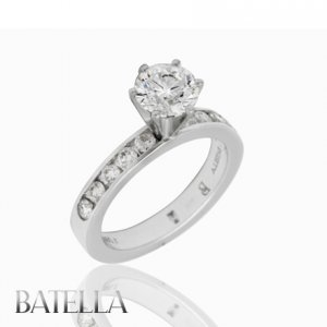 EGL Certified 1.74 Ct E/SI2 Round Diamond Channel Engagement Ring 14k White Gold