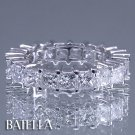 4.27 Ct E-F VS2 SI1 Princess Diamonds Eternity Band Ring 14k White Gold Women's