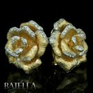 0.89 Ct G-H VVS2 VS1 Round Cut Diamond Cocktail Flower Earrings 18k Yellow Gold