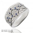 0.78 Ct Round Blue Sapphire Gemstones & Natural Diamonds Pave Ring Band 18k Gold