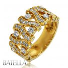 1.45 Ct E-F Round Diamond Anniversary Wedding Pave Set Band Ring 18k Yellow Gold
