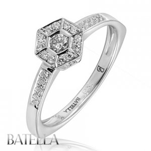 Estate 0.26 Carats Genuine Natural Round Diamond Engagement Ring 18k White Gold