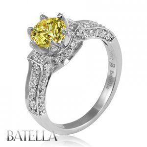 Estate1.51 Ct Natural Fancy Yellow VS2 Genuine Diamond Engagement Ring 18k White