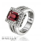 Estate 2.87 Ct Natural Pink Tourmaline Vintage Round Diamond Engagement Ring 18k