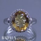 Estate 3.60 Ct Vintage Natural Yellow Citrine Round Cut Diamonds Ring 14k White