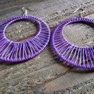 Large Purple Wire Hoop Earring Dangle Hook Retro Vintage Fashion Jewelry