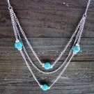 "Long 32"" 3 Layer Multi Turquoise Bead Rhinestones Chain Necklace Cowgirl Fashion Jewelry"