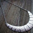 Hammered Style Siver Crescent Chain Link Necklace Fashion Jewelry Silver Gold Tone