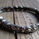 Vintage Silver Tone Stretch Linked Panel Bracelet Southwestern Fashion Jewelry