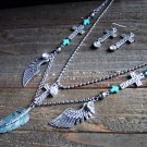 Silver Cross Wing Feather Layer Necklace Earrings Cowgirl Gypsy Boho Jewelry