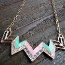 Pink & Green Chevron Zig Zag Rhinestones Adjustable Chain Statement Necklace Fashion Jewelry
