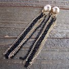 "4"" Long Dangle Black & Gold Tassel Earrings Circle Stud Fashion Jewelry"