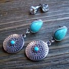 Southwestern Earrings Rhinestone Silver Turquoise Gypsy Boho Cowgirl Jewelry Set