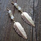"4"" Long Gold Feather Bead Faux Pearl Dangle Earrings Boho Fashion Jewelry"