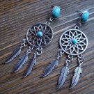 Dream Catcher Feather Dangle Earrings Silver Tone Turquoise Gypsy Boho Cowgirl