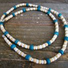 Vintage Southwestern Wood Shell Bead Necklace Teal Cream White Fashion Jewelry