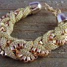 Chunky Gold Tone Braided Chain Link Mesh Bangle Statement Bracelet Jewelry