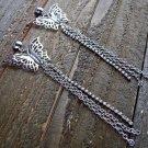 """5"""" Long Silver Butterfly Drop Dangle Alloy Chain Rhinestones Earrings Fashion Jewelry"""