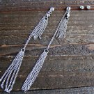 "4.5"" Extra Long Dangle Silver Tassel Chain Rhinestones Earrings Set Fashion Jewelry"