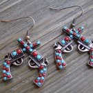Rhinestone Double Pistol Dangle Earrings Cowgirl Fashion Jewelry Turquoise & Red