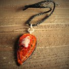 Vintage Jasper Painted Wood Handcrafted Pendant Cord Necklace Boho Fashion Jewelry