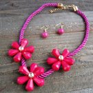 Triple Pink Flower Rope Cord Statement Necklace Earrings Set Fun Fashion Jewelry