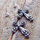 Rhinestone Burnish Silver Cross Stud Set of 2 Pair Earrings Cowgirl Fashion Jewelry Silver Gold