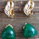 2 Pair Vintage Clip On Earrings Green Glass Gold Tone Costume Fashion Jewelry