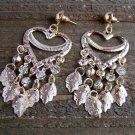 Large Long Gold Tone Heart Drop Dangle Leaf Rhinestone Chandelier Earrings Fashion Jewelry