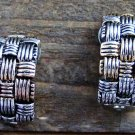 Vintage Woven Design Half Hoop Multi Tone Alloy Clip On Earrings Costume Jewelry