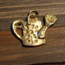Vintage Gold Tone Alloy Flower Watering Pitcher Charm Fashion Jewelry Accessory