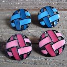 Vintage 2 Pair Woven Style Design Stud Earrings Blue Pink Enamel Fashion Jewelry