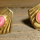 Vintage Gold Tone Shell Fan Shaped Pink Acrylic Stud Earrings Fashion Jewelry