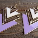 White Purple Large Chevron Design Arrow Shape Gold Alloy Dangle Hook Earrings Fashion Jewelry