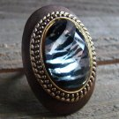 Large Ring Zebra Animal Print Rhinestone Statement Brown Wood Metal Fashion Jewelry